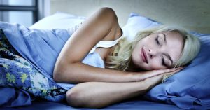 Blond girl has this sleeping habits of sleeping on her side