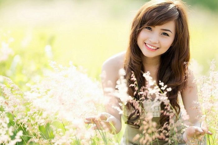 happy beautiful girl, women smiling and posing in front of flowers, Bananas-2