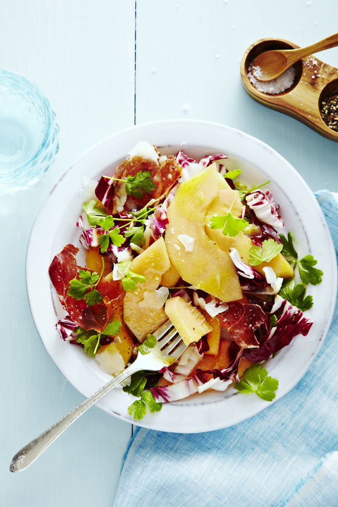 Tasty fruit salad, add a little crunchy prosciutto, bitter radicchio and salty parmesan to the mixture