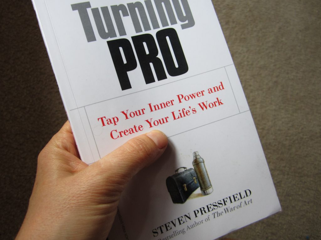 It is seen on the cover of the book Turning Pro by Steven Pressfield, where the title is shown in red letters and the rest in red. Take a picture of a lunch box with a thermos next to it on the underside of the cover
