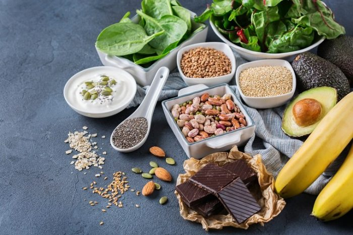 Various fatty foods with Magnesium such as chocolate, bananas, seeds, avocado, some herbs